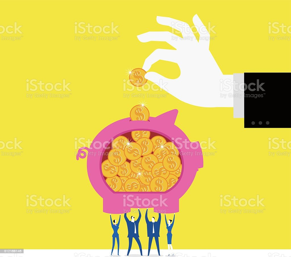 Put money into a piggy bank vector art illustration