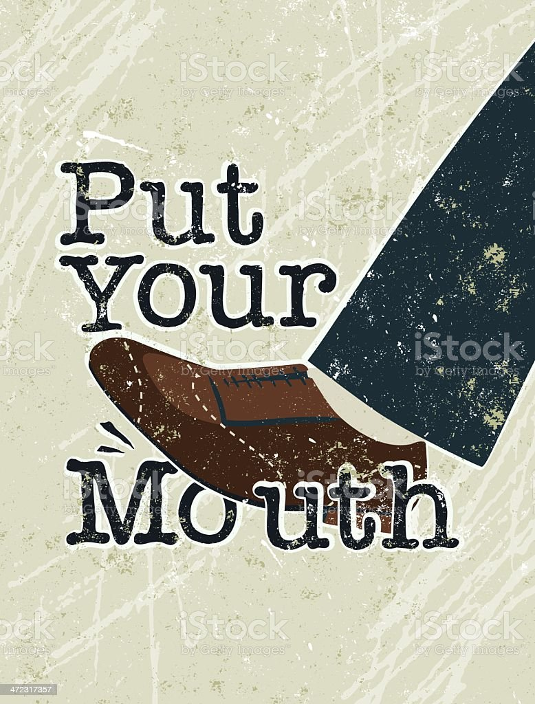 Put Your Foot in Mouth Text Man royalty-free stock vector art