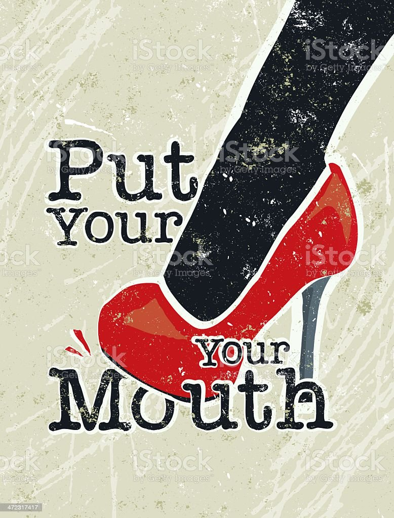 Put Your Foot in Mouth Text Woman vector art illustration