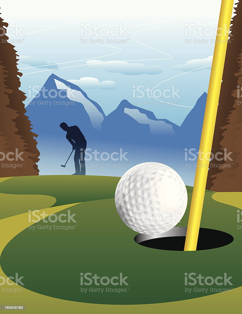 Putting Golf vector art illustration