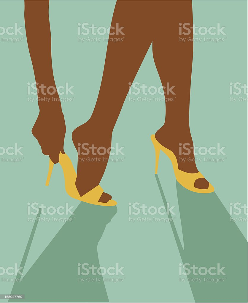 Putting on heels vector art illustration