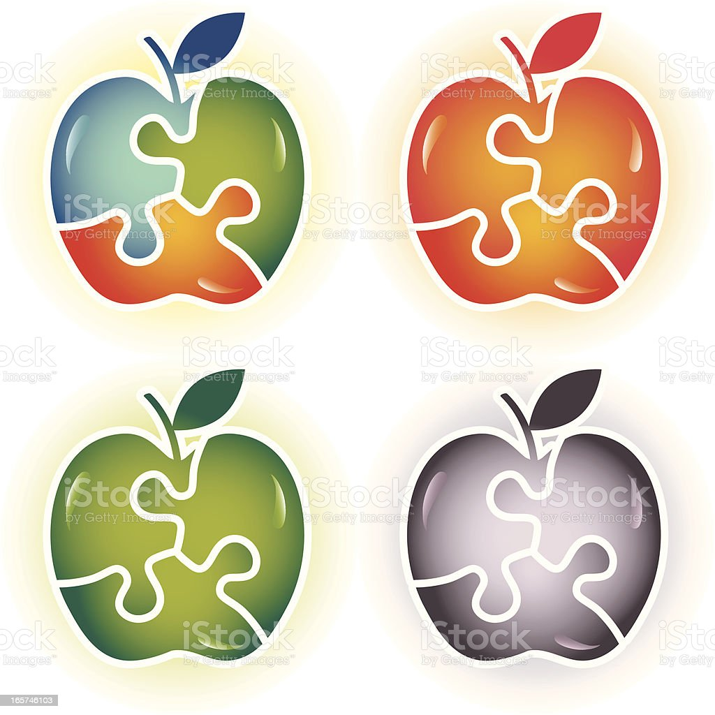 Puzzle Apple Solution royalty-free stock vector art