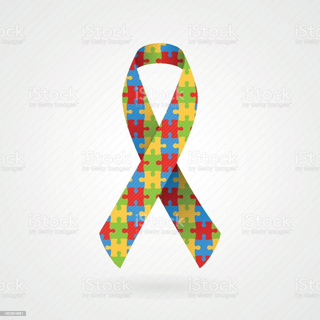 Puzzle awareness ribbon (Autism) vector art illustration