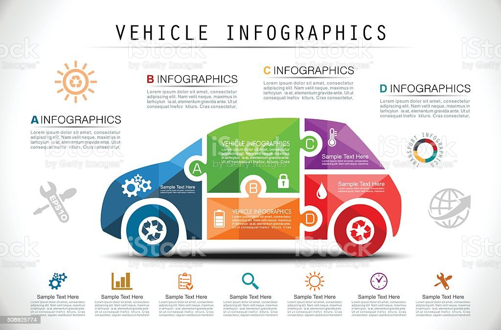 Puzzle Car Infographics vector art illustration