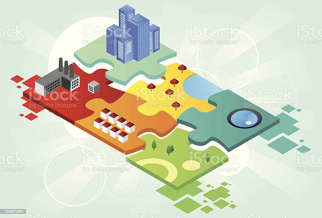 Puzzle city vector art illustration