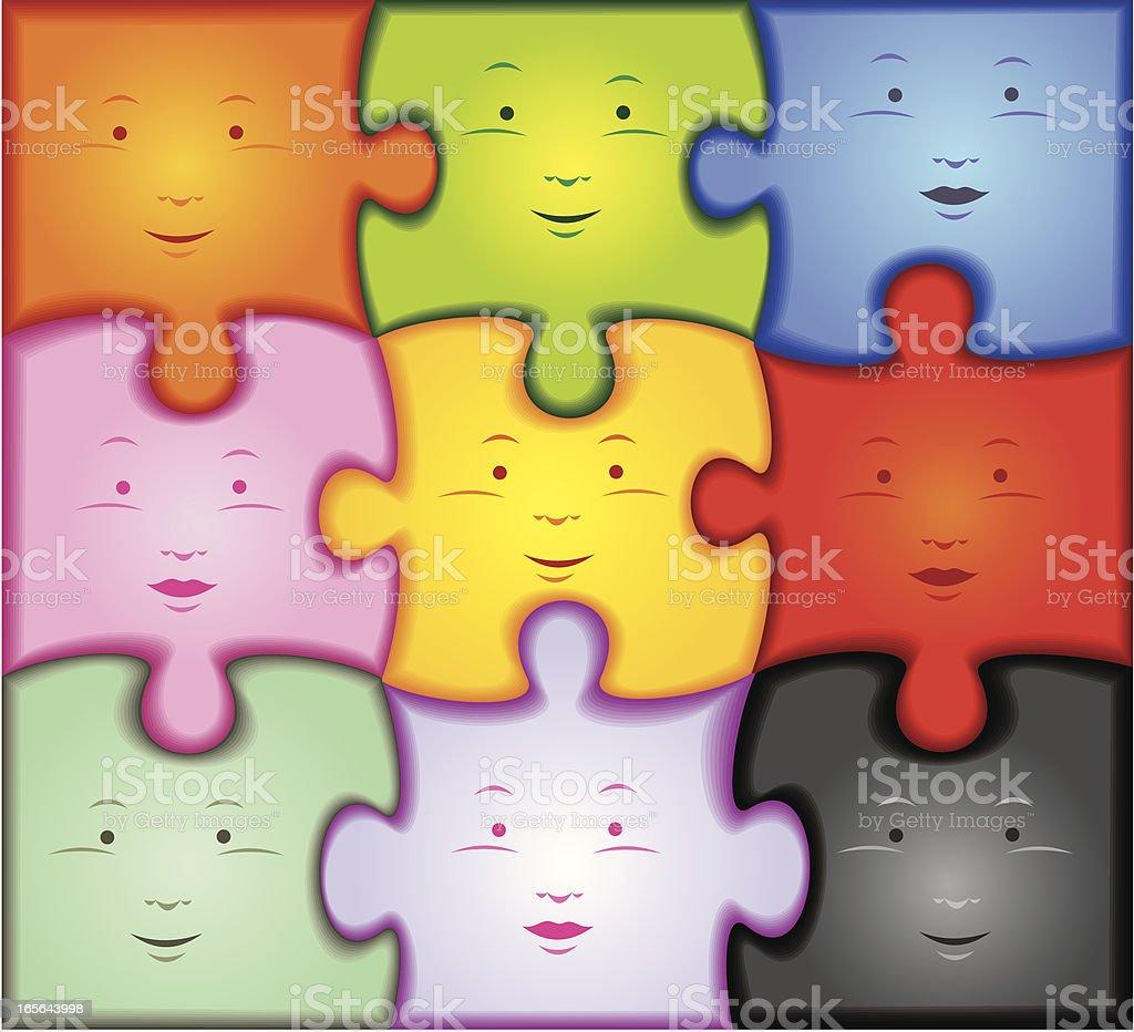 puzzle con caras royalty-free stock vector art