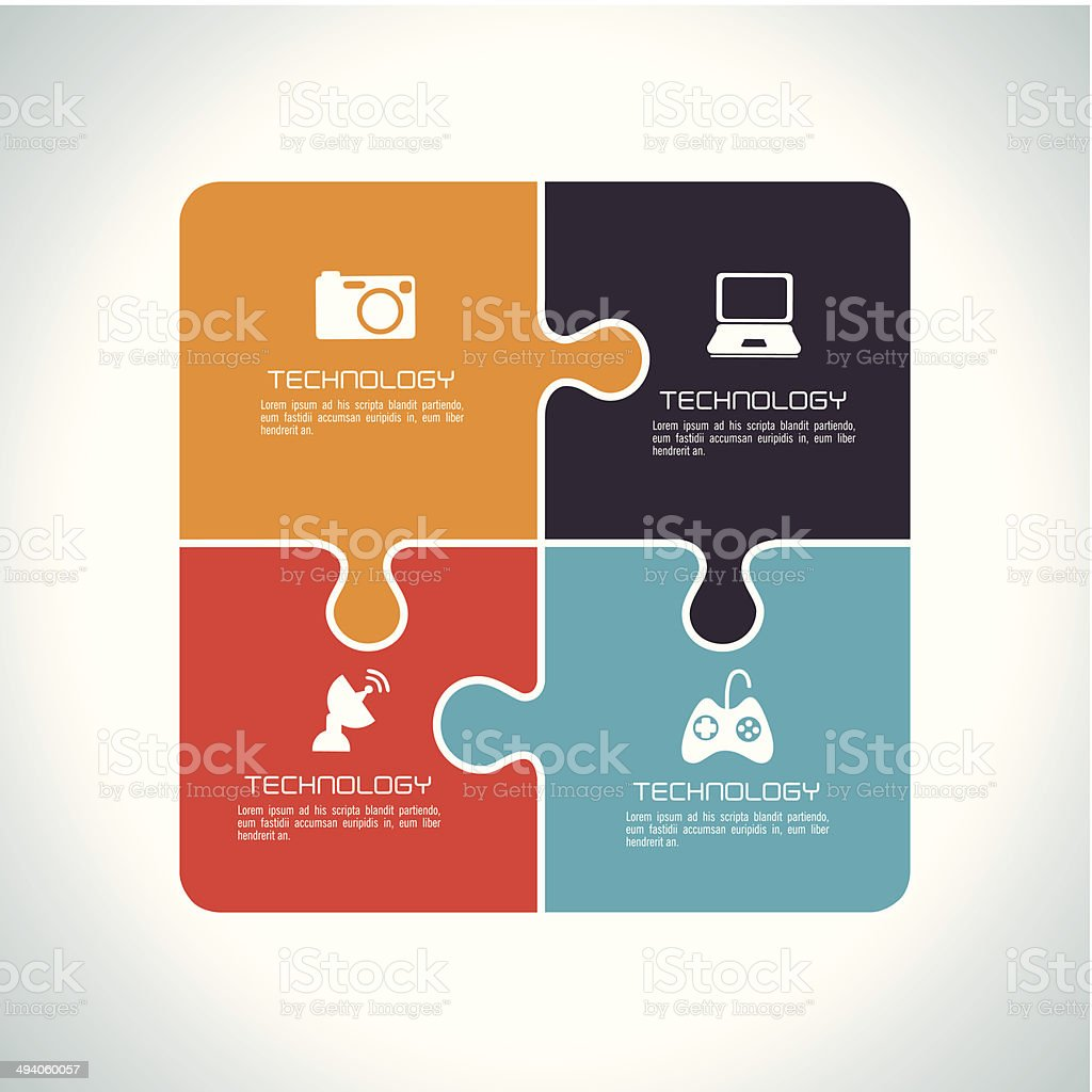 Puzzle design vector art illustration