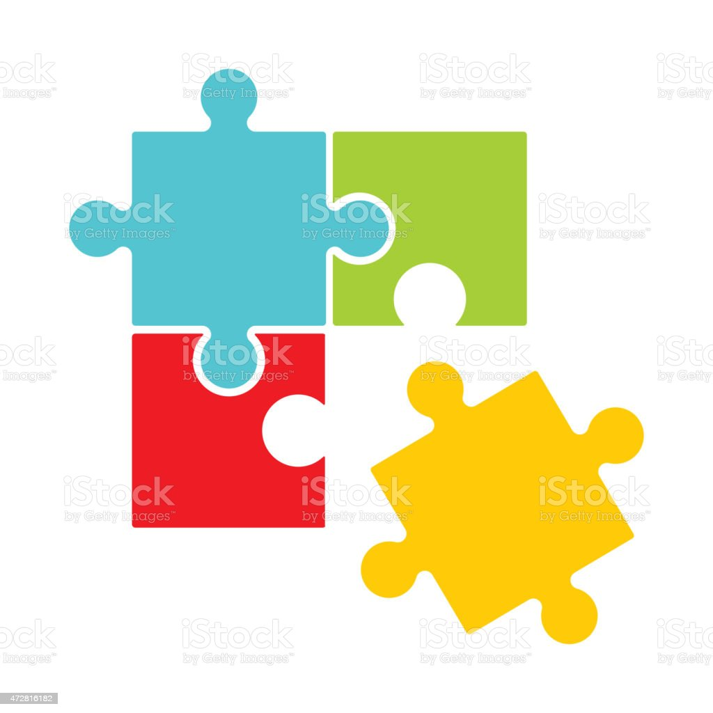 Puzzle design with one piece out of place vector art illustration