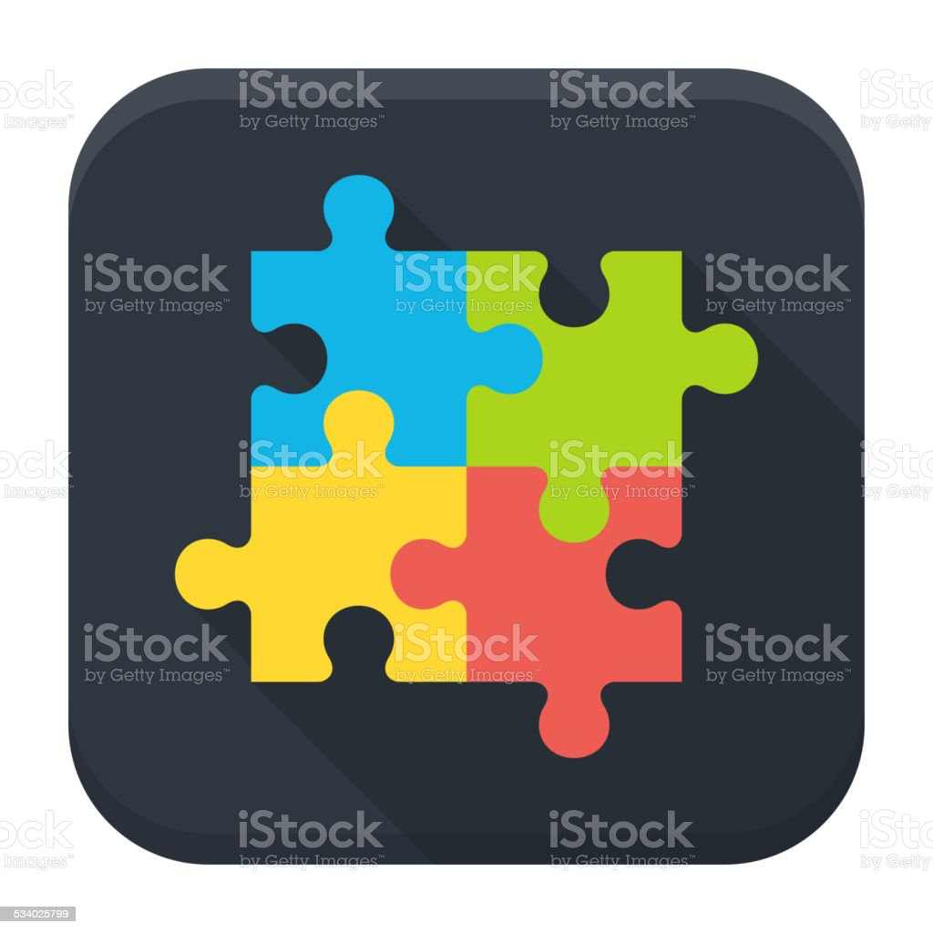 Puzzle flat app icon with long shadow vector art illustration