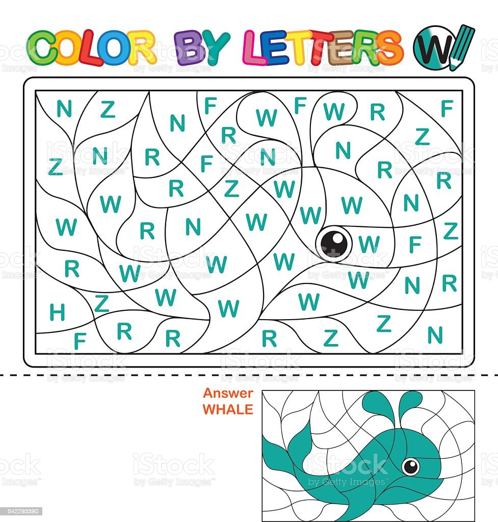 Puzzle for kids. Color by letters. vector art illustration
