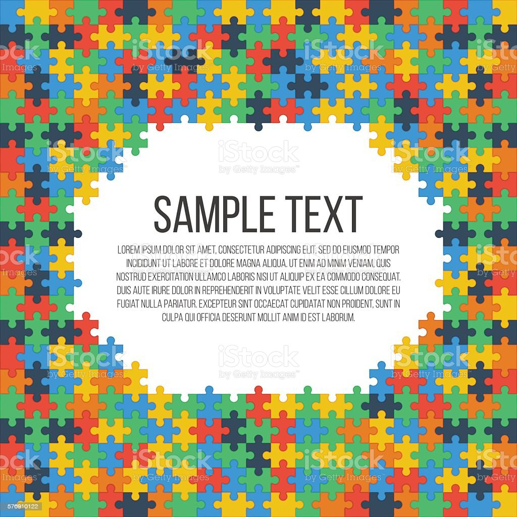 Puzzle frame template vector art illustration