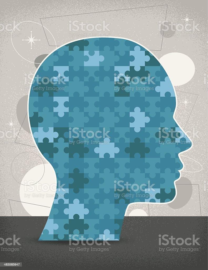 Puzzle Head (Vintage) royalty-free stock vector art