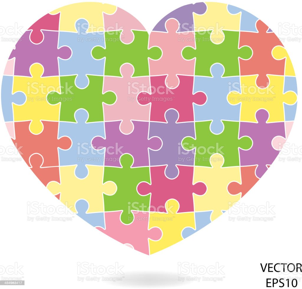 Puzzle Heart sign vector art illustration