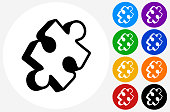 Puzzle Icon on Flat Color Circle Buttons