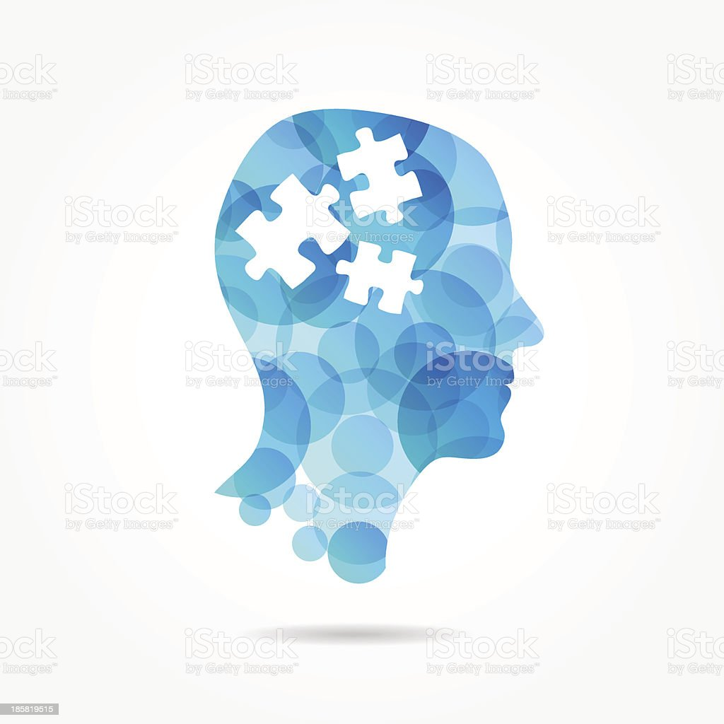 puzzle in bubble head poster vector art illustration