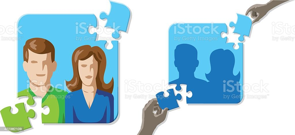 Puzzle marriage vector art illustration