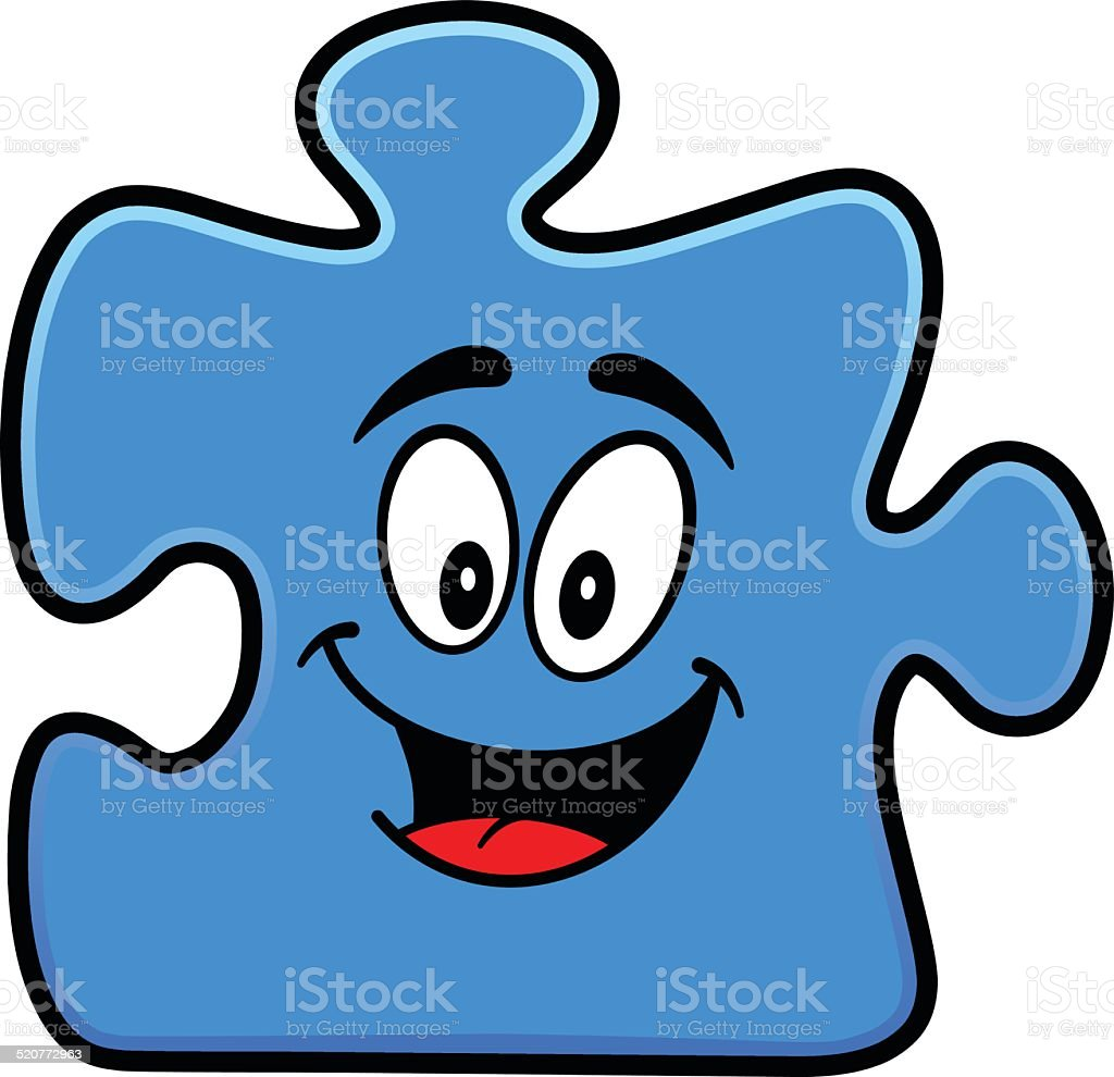 Puzzle Mascot vector art illustration