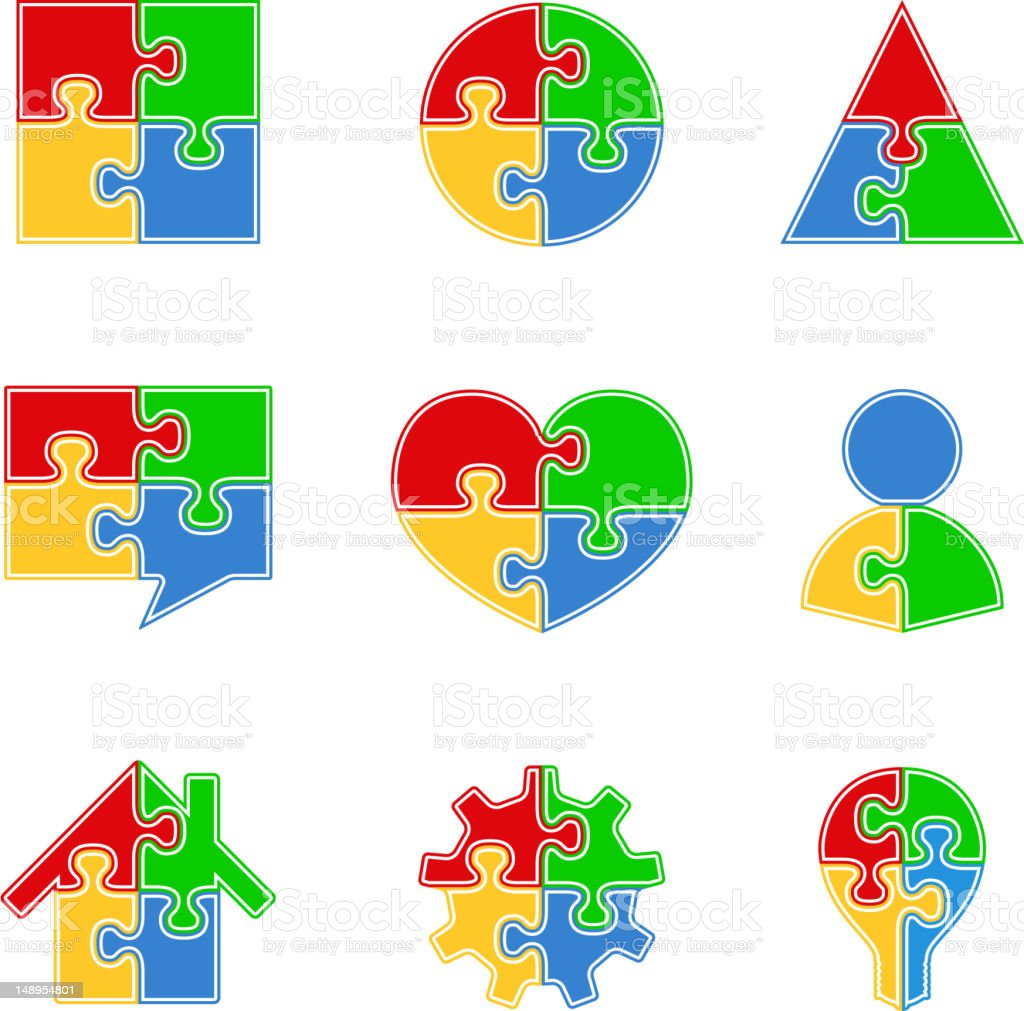 Puzzle Objects royalty-free stock vector art
