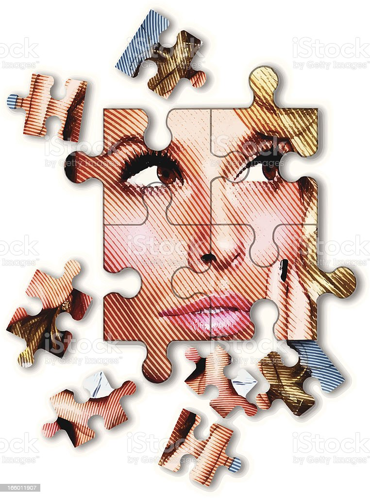 Puzzle Of Businesswoman Looking For Solutions royalty-free stock vector art