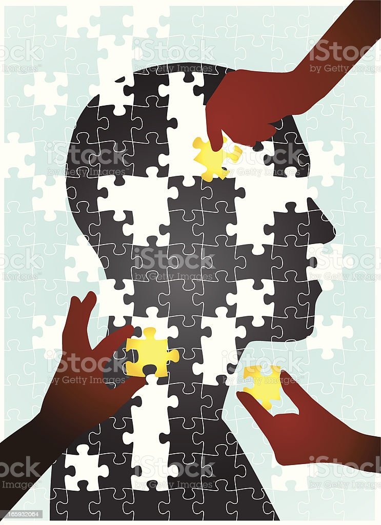 Puzzle of human silhouette with pieces put together by hands vector art illustration