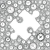 Puzzle on Time and Clock Vector Icon Pattern