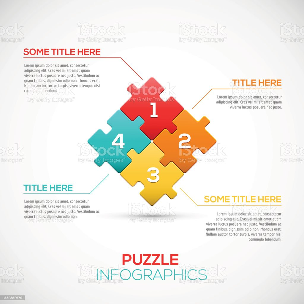 Puzzle piece 3D infographics business concept vector vector art illustration