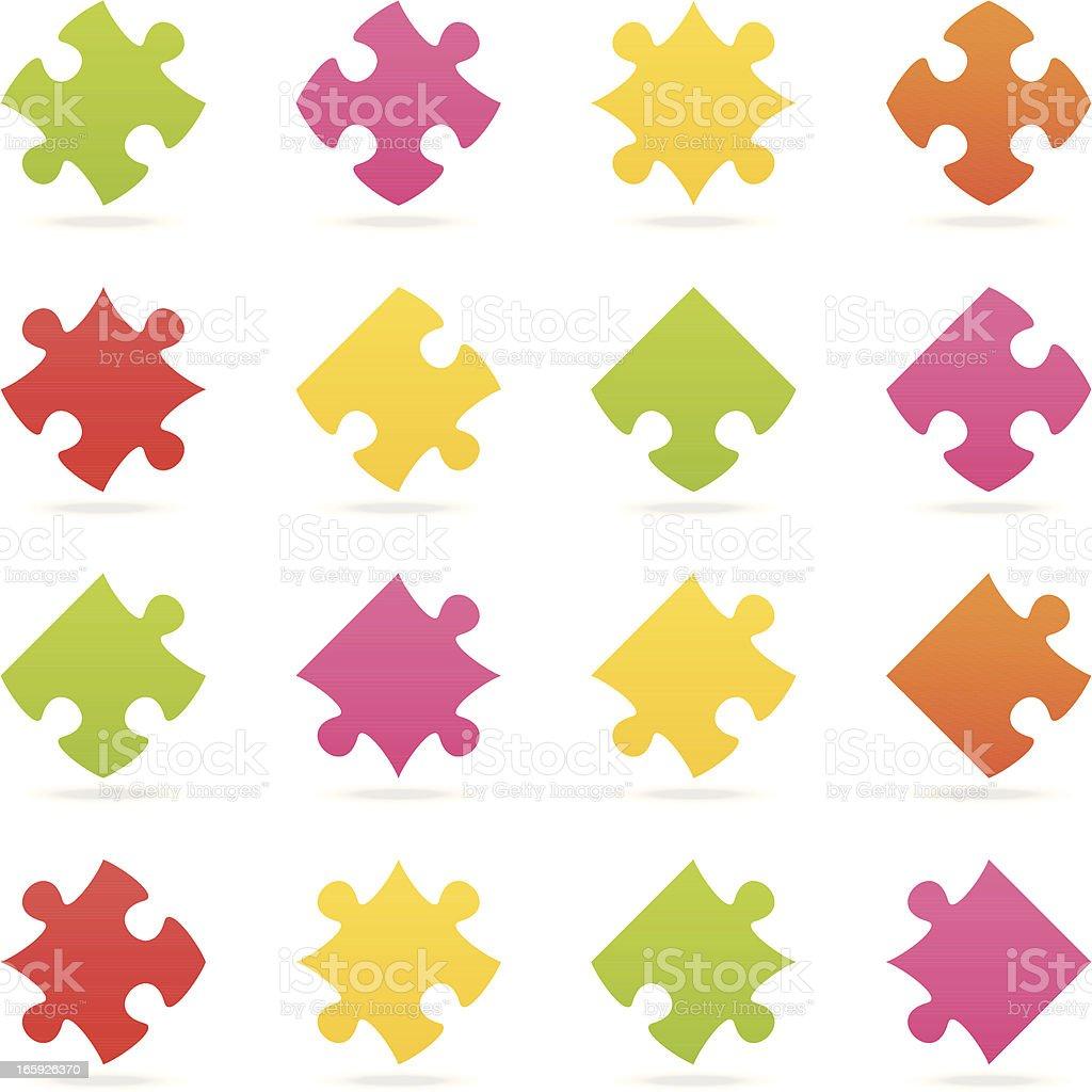 puzzle piece color set vector art illustration