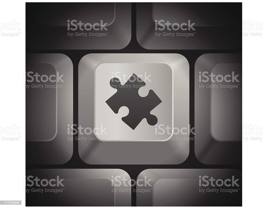 Puzzle Piece Icon on Computer Keyboard royalty-free stock vector art