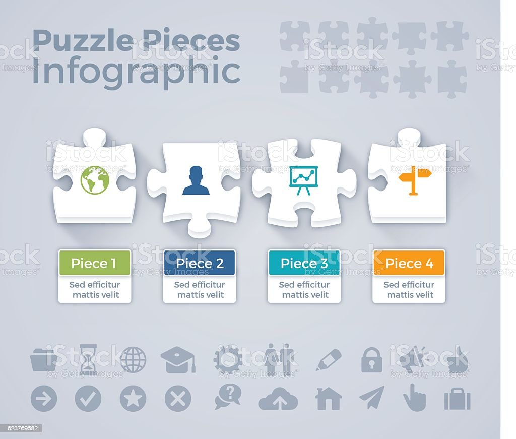 Puzzle Piece Infographic vector art illustration