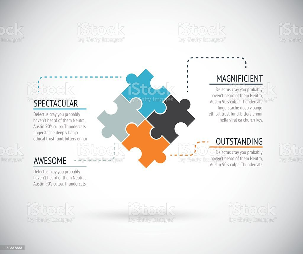 Puzzle piece infographics business concept vector vector art illustration