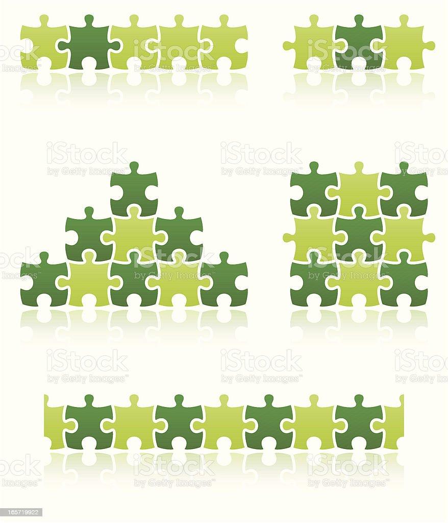 puzzle piece people set vector art illustration