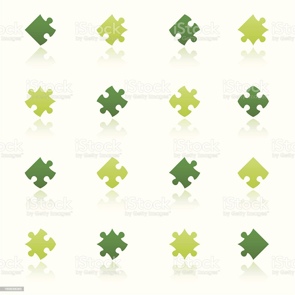 puzzle pieces set eco reflection royalty-free stock vector art