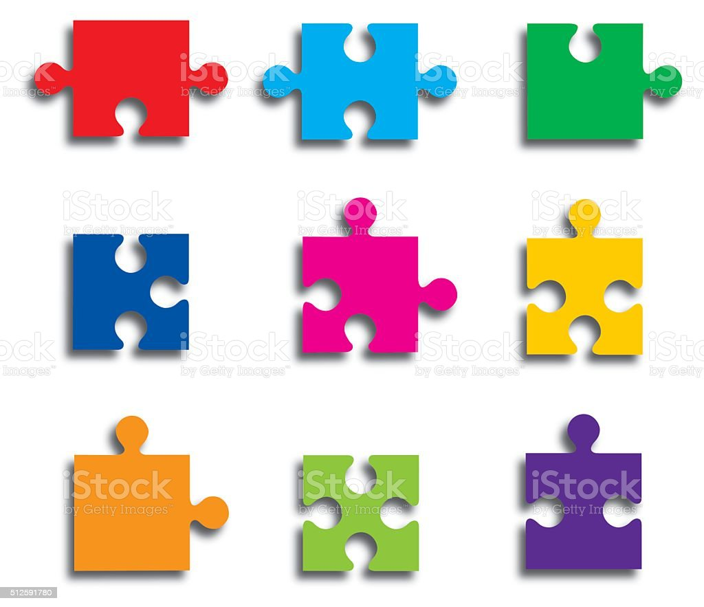 Puzzle Pieces vector art illustration
