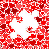 Puzzle  Red Hearts Love Pattern