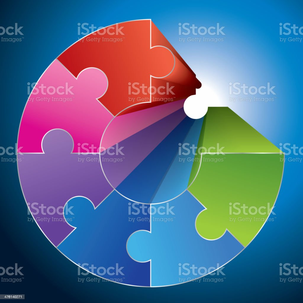 Puzzle ring vector art illustration