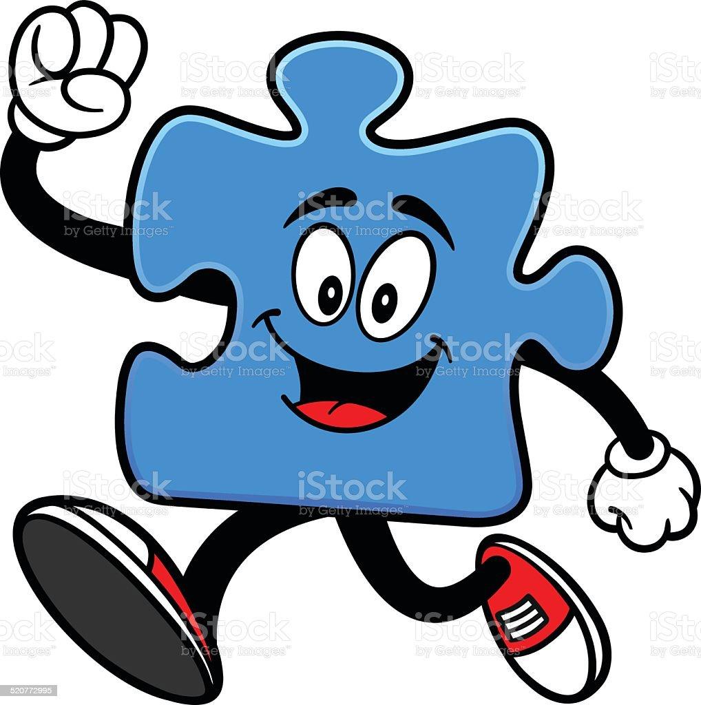 Puzzle Running vector art illustration