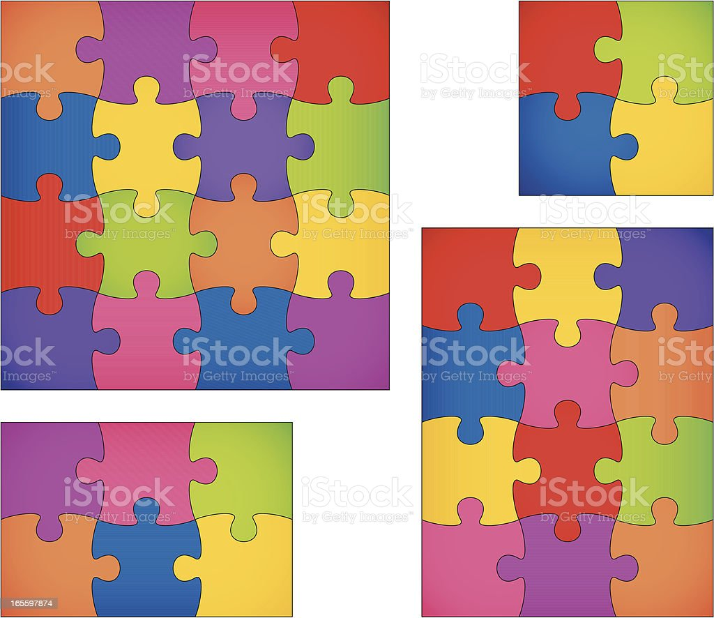 puzzle set II vector art illustration