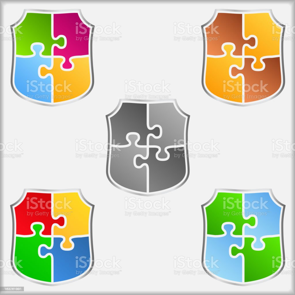 Puzzle Shields royalty-free stock vector art
