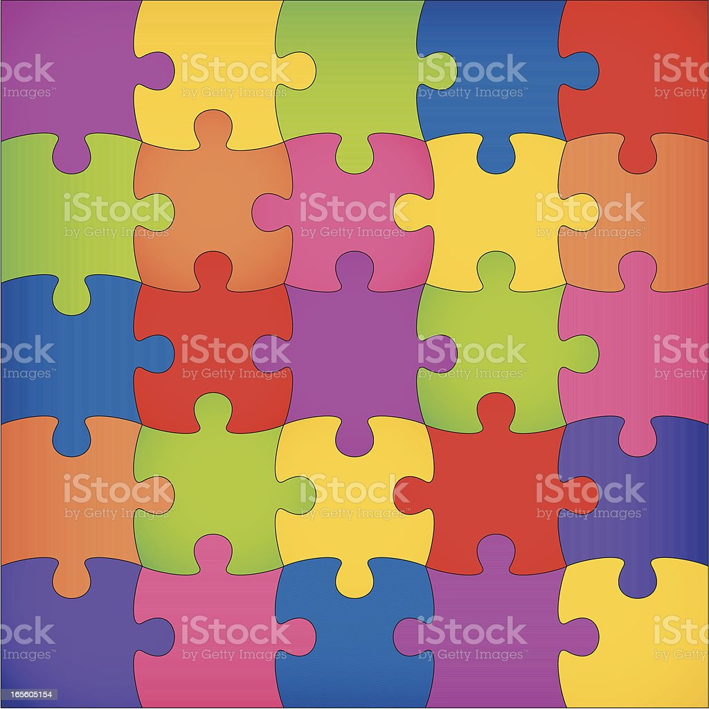 A puzzle square completed in various colors royalty-free stock vector art
