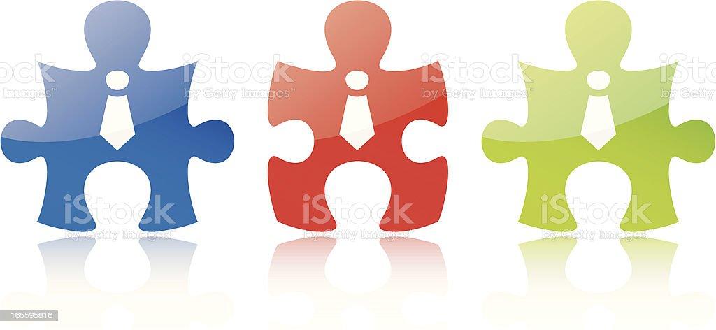 puzzle team RGB vector art illustration