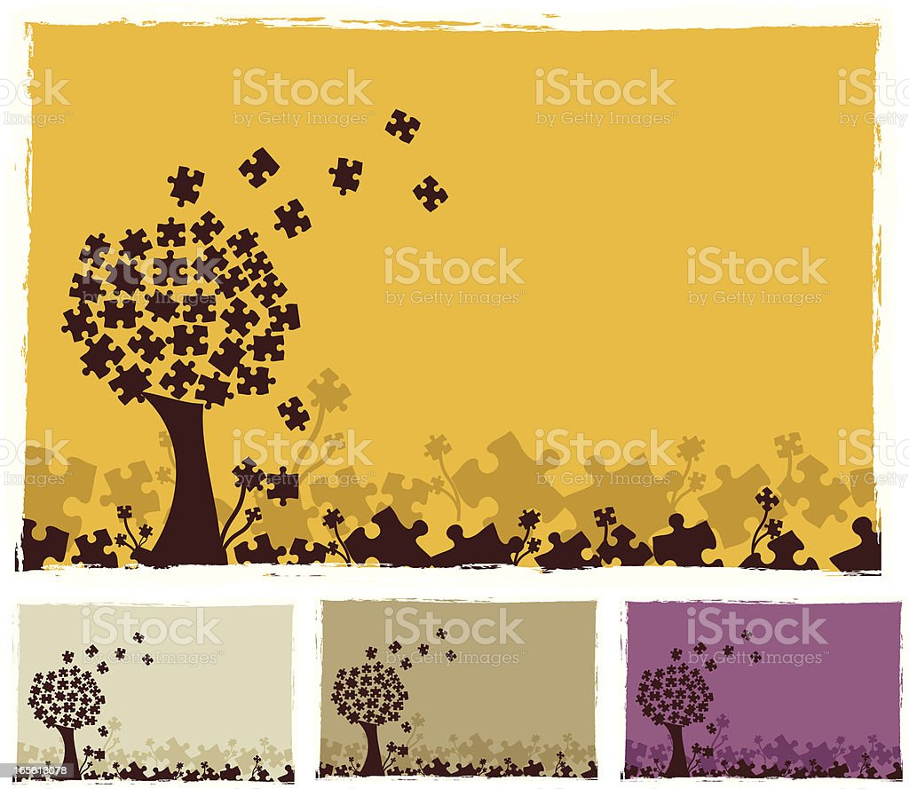 Puzzle Tree vector art illustration