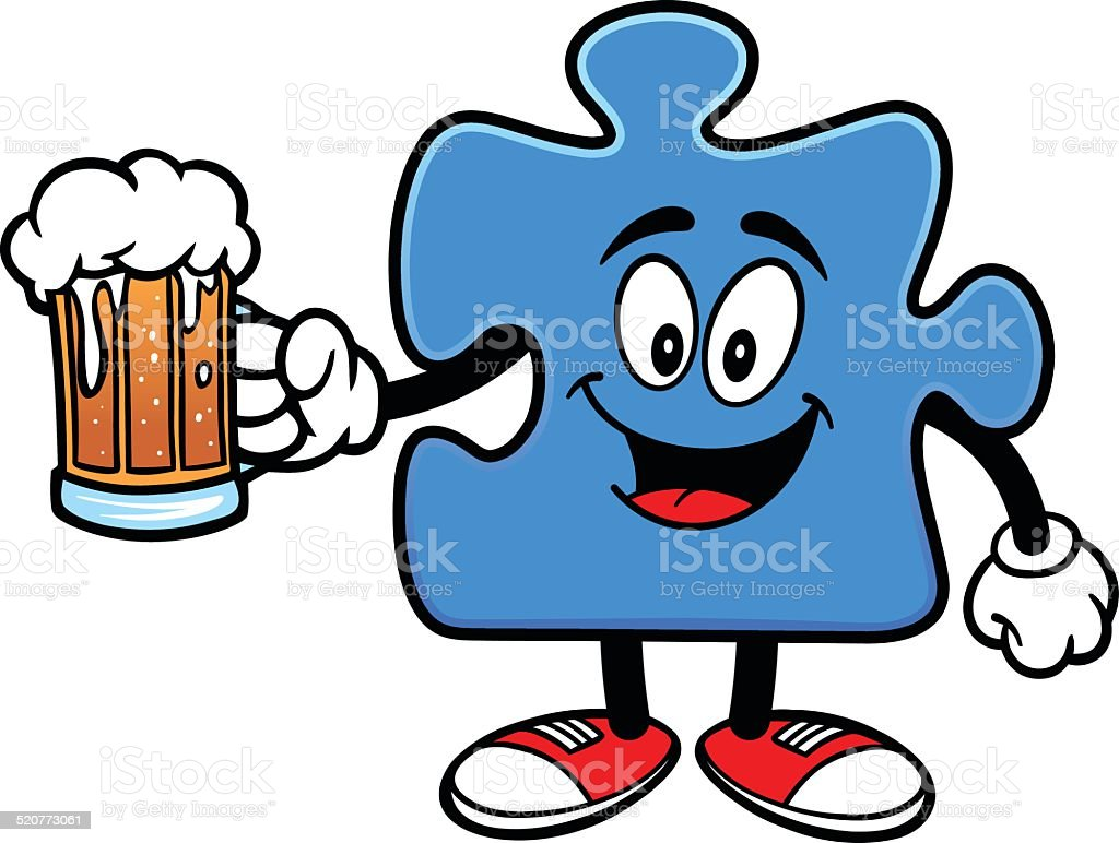 Puzzle with Beer vector art illustration