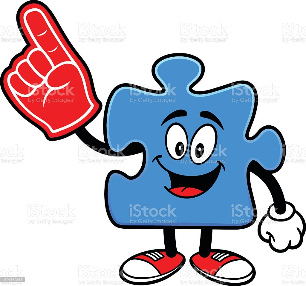 Puzzle with Foam Finger vector art illustration