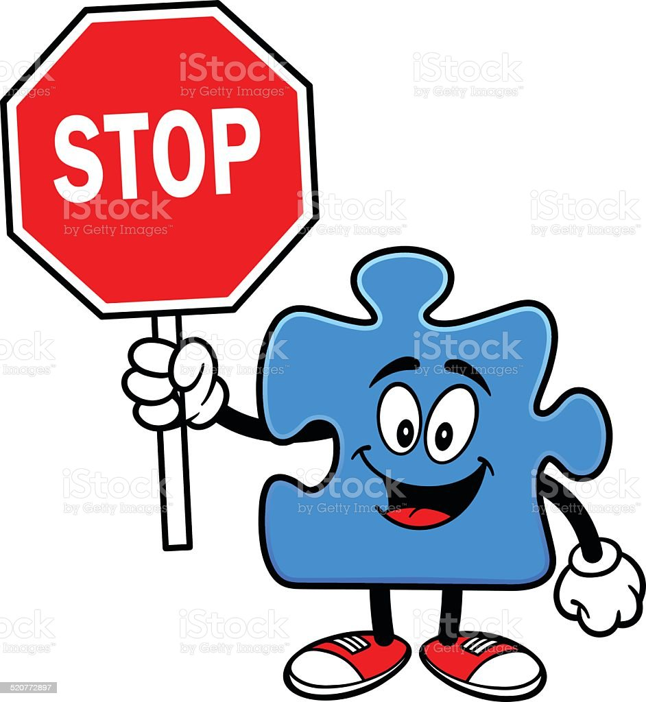 Puzzle with Stop Sign vector art illustration