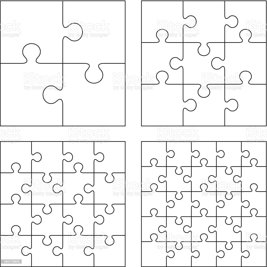 Puzzles vector art illustration