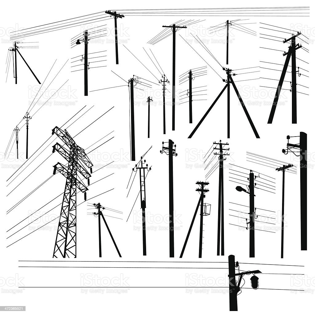 Pylon high voltage power lines silhouette set vector art illustration