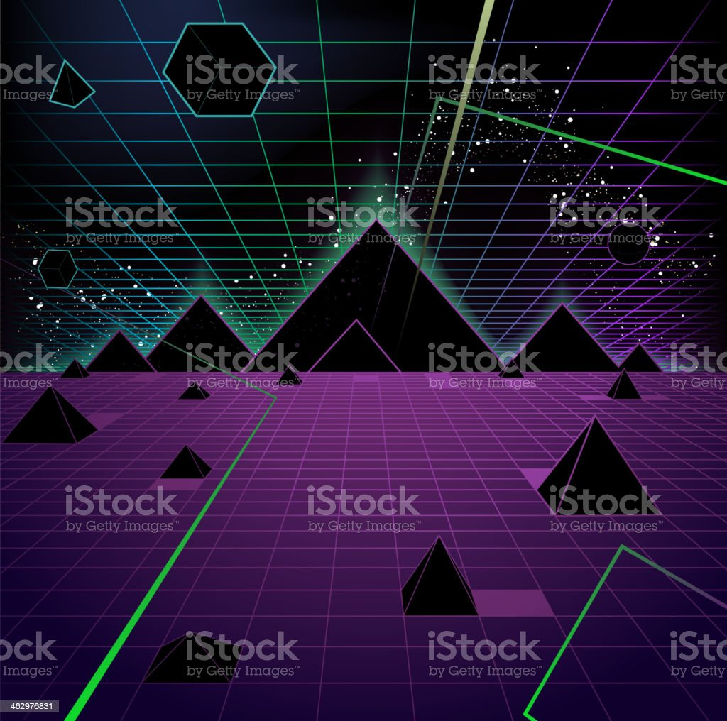 Pyramid Background Retro 80's Style Fashion Triangle vector art illustration