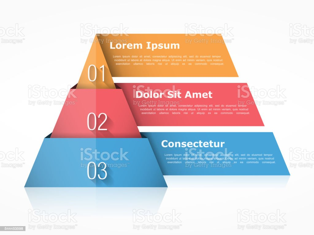 Pyramid Chart Three Elements vector art illustration