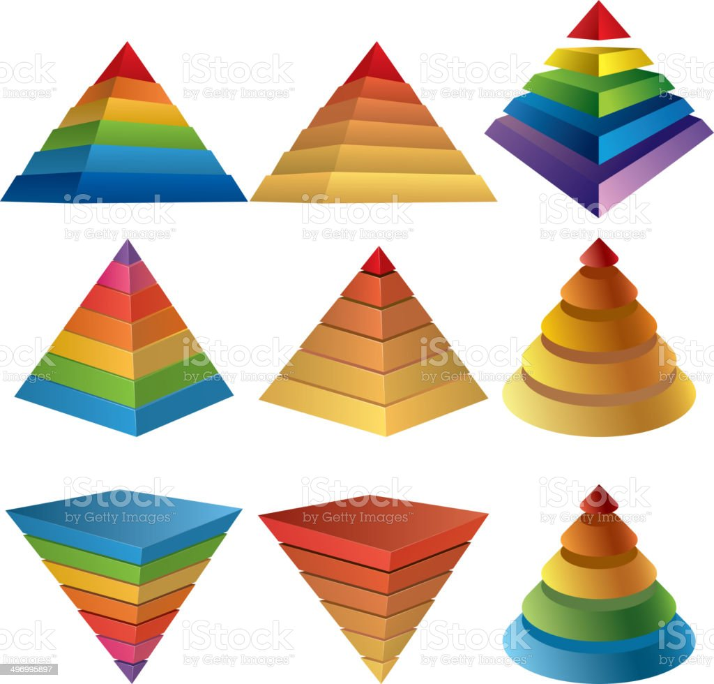Pyramid charts vector art illustration