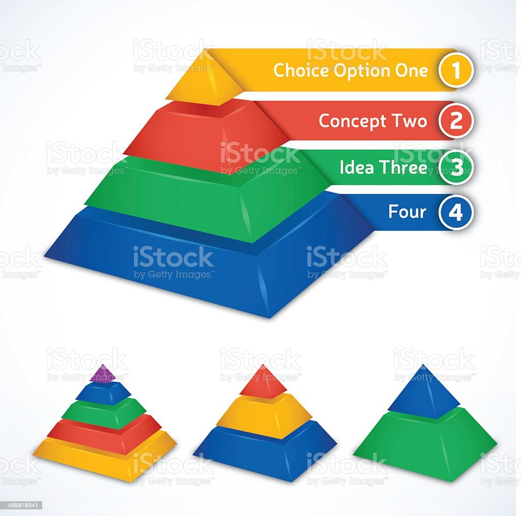 Pyramid Choices vector art illustration
